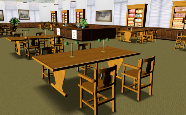 The Cushing Memorial Library reading room, a replication