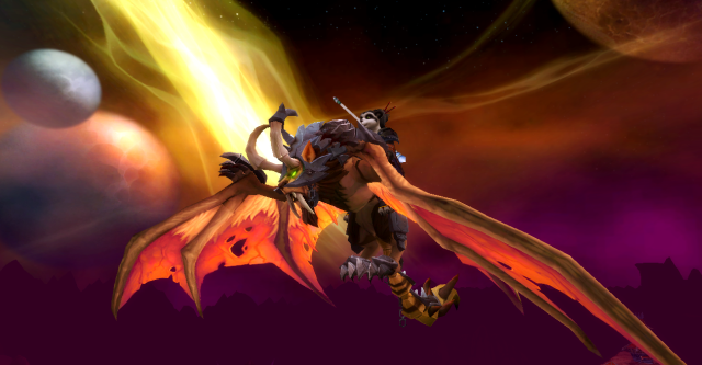 Jantzu on her wyvern mount, Hellfire Peninsula (WoW)