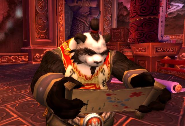 Lorewalker Cho reading a scroll (Mists of Pandaria)