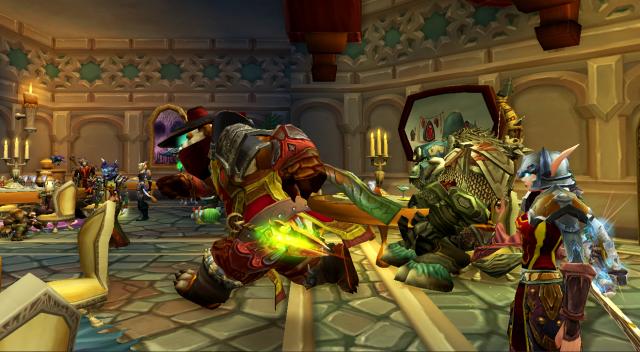 Inevitable Betrayal guild meeting at a tavern in Dalaran, Northrend (WoW)