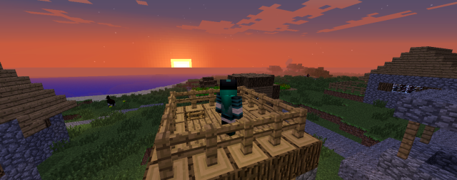 First sunset in my new Minecraft world in Creative mode