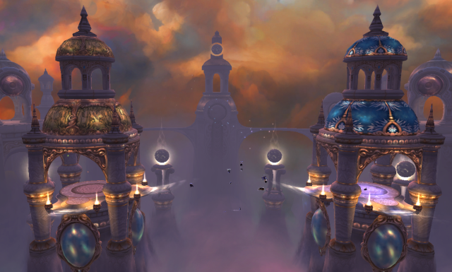 """Throne of the Four Winds, raid group (specks in the middle) taking victory """"laps"""""""