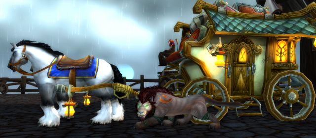 Yvvy next to Greymane horses and carriage during the evacuation