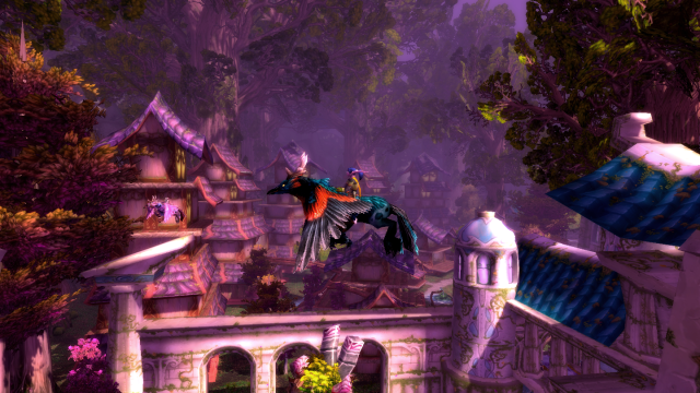 Yvois flying on a hippogryph from Darnassus