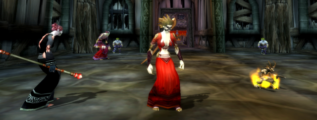 Yvilee and her imp Cholop in the Shadow Priest's chapel